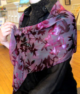 "Scarf, Large Ice Dyed Silk Devore'  13"" x 60"""