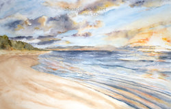 Shoreline Sunset Watercolor Painting