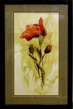 Solo Poppy Giclee Framed 'Charcoal and Sage'