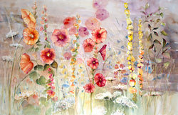 Vintage Flower Garden Watercolor Painting
