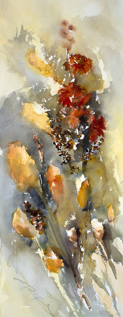 Windblown Cat Tails Watercolor Painting