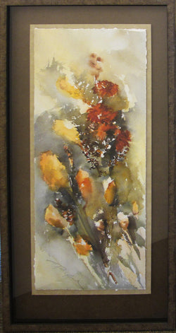 Wind Blown Cat Tails Giclee Framed 'Classic Float II' a