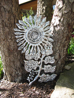 Flower Large With Leaves Wall Sculpture