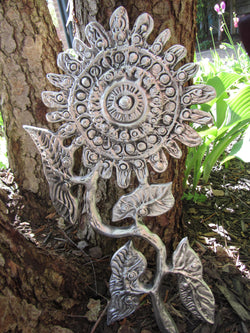Large Flower With Curving Stem And Leaves Wall Sculpture