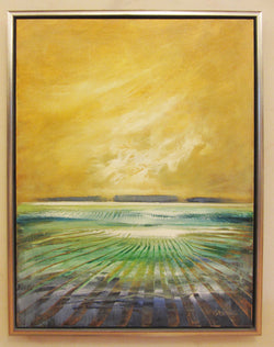 Golden Skies and Blue Fields Framed Oil Painting