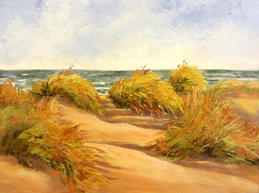 Grassy Shore Walk Oil Painting