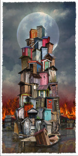 Outhouse Fire Giclee
