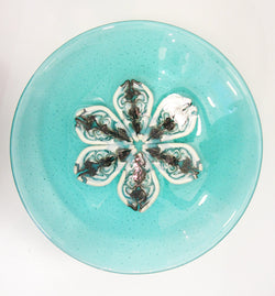 Aqua Fused Glass Bowl With Detailed Flower