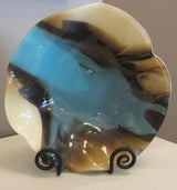 Blue Brown Wavy Bowl Glass Works