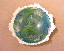 Blue Green Enamel with Lace Bowl