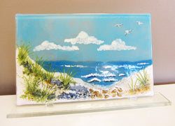 Lake Michigan Scene Fused Glass Plate On Stand