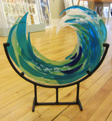 Large Glass Wave on Stand