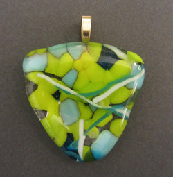 Lime and Blue Multi-Layered Glass Triangular Pendant