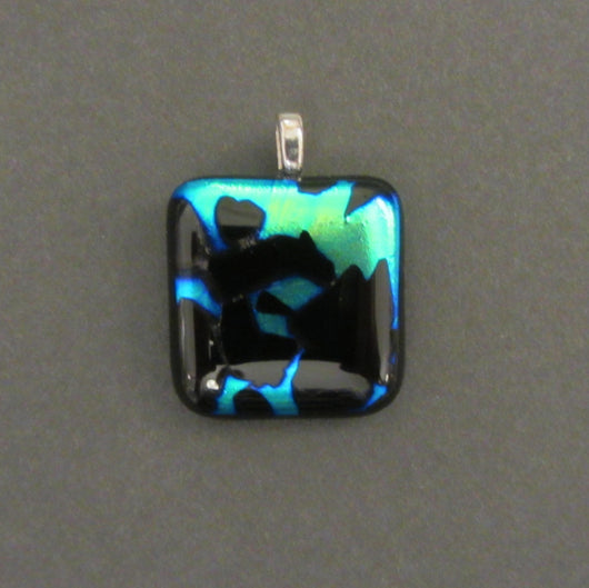 Midnight Blue and Green Dicroic Glass Square Pendant