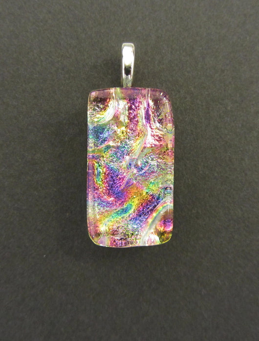 Pink and Blue Dicroic Glass Rectangular Pendant
