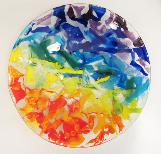 Rainbow Fused Glass Bowl