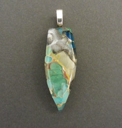 Teal Multi-Layered Glass Arrow Pendant