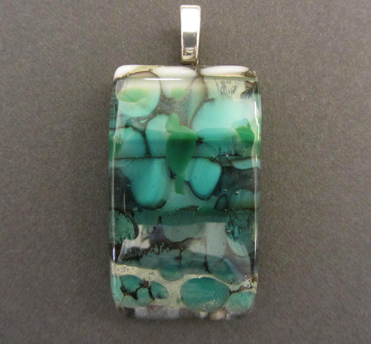 Teal Multi-Layered Glass Rectangular Pendant