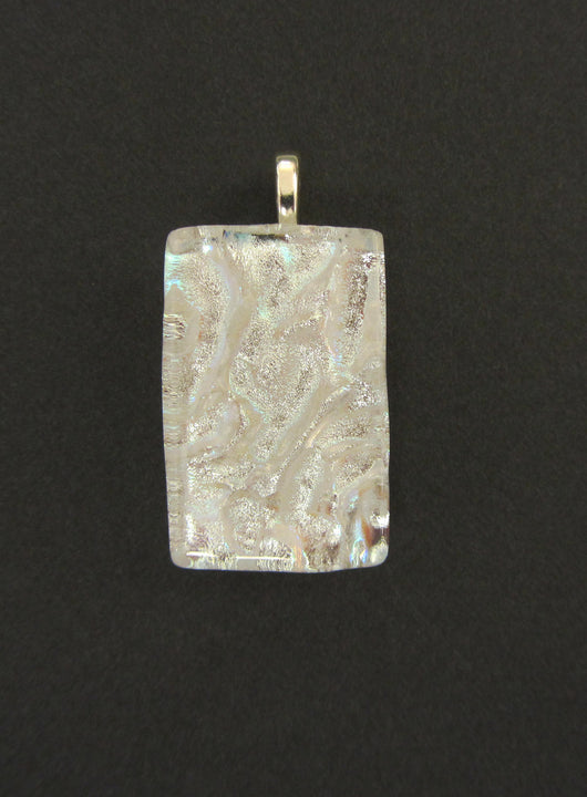 White Dicroic Glass Rectangular Pendant