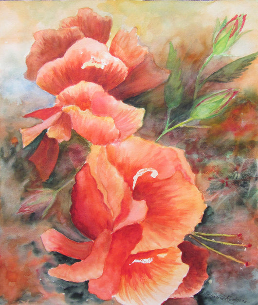 Holy Hibiscus Watercolor Painting