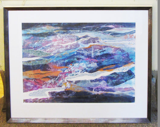 Violet Seas Framed Watercolor Collage