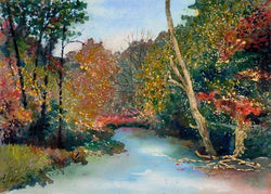 Fall Comes To The Pigeon River Watercolor Painting