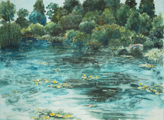 Monet's Pond Watercolor Painting