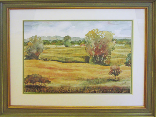 Ribboned Fields Giclee Framed