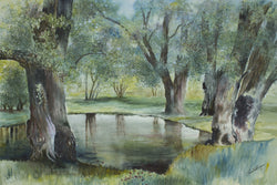 Spring Pond Watercolor Painting