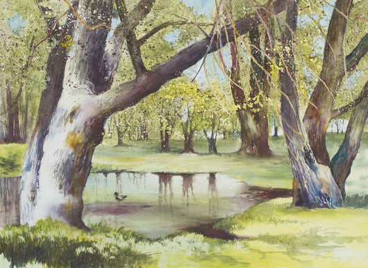 Spring Willows Watercolor Painting