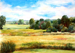 Summer Fields Watercolor Painting