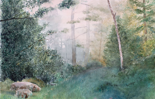 Trail In The Fog Watercolor Painting