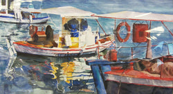 Greek Watercraft Watercolor Painting