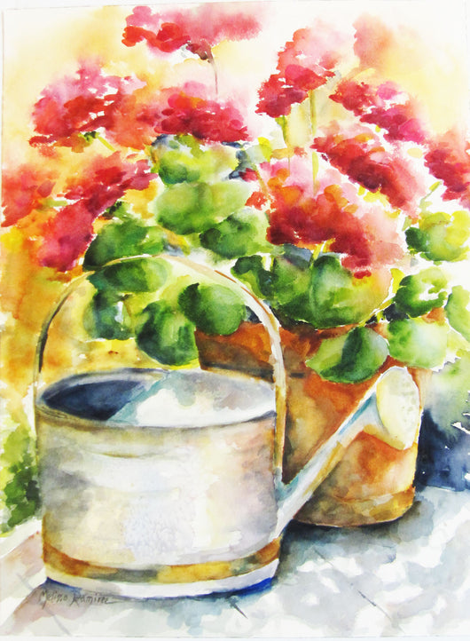 Just Watered Watercolor Painting