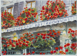 Restaurant Des Pecheurs Watercolor Painting