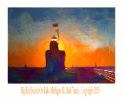 Big Red Sunset On Lake Michigan II Giclee