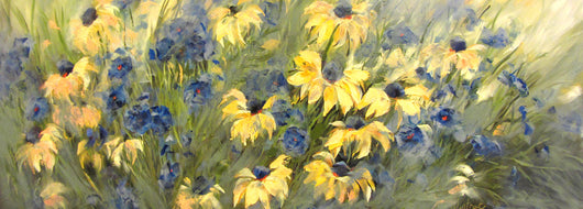 Blackeyed Susans and Blue Flax Oil Painting