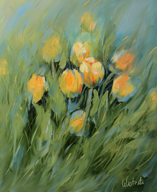 Citron Blooms Oil Painting