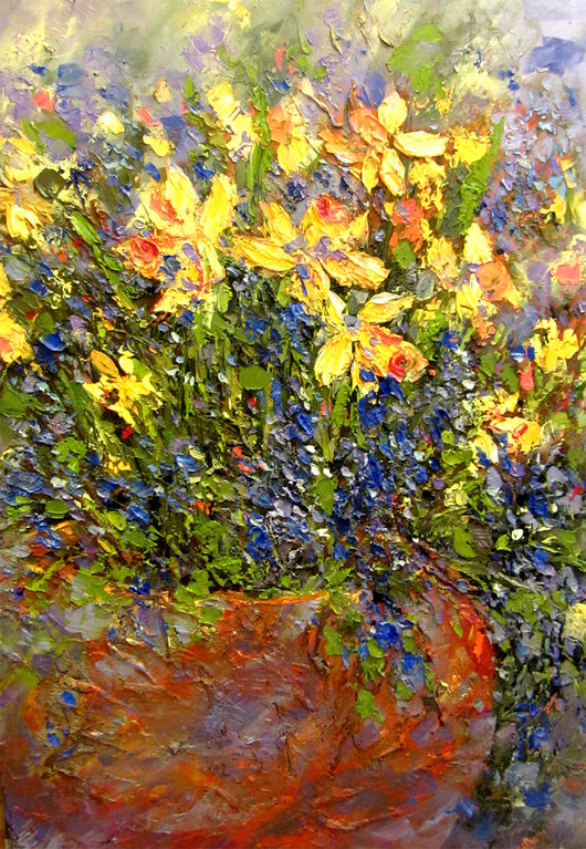 Daffodils And Grape Hyacinth Oil Painting