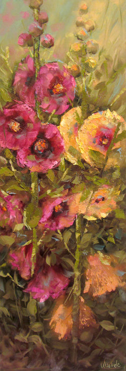 Happy Hollyhocks Oil Painting