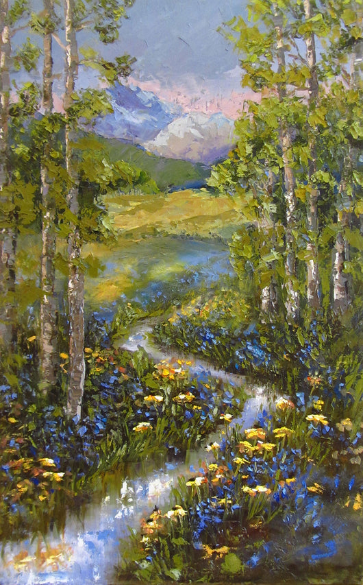 Mountain Stream Trillium Oil Painting