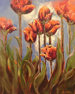 Peachy Tulips Oil Painting