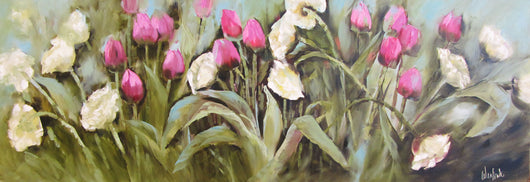 Pink and White Tulips Oil Painting