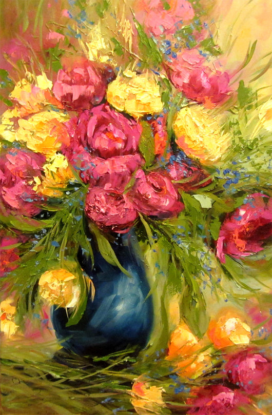 Pleasing Peonies Oil Painting