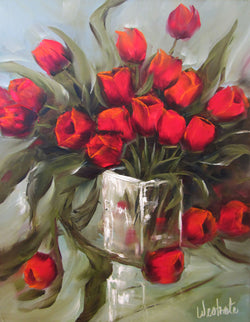 Scarlet Tulips Oil Painting