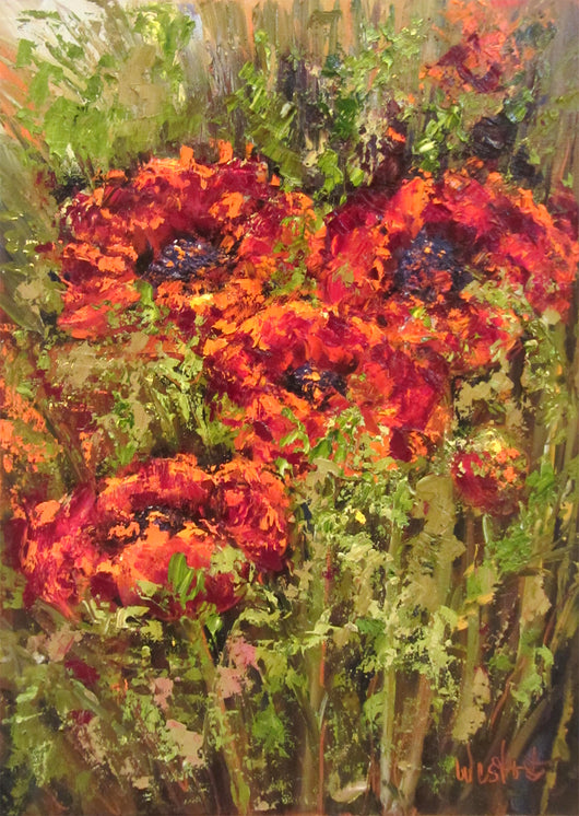 Seeking Poppies Oil Painting