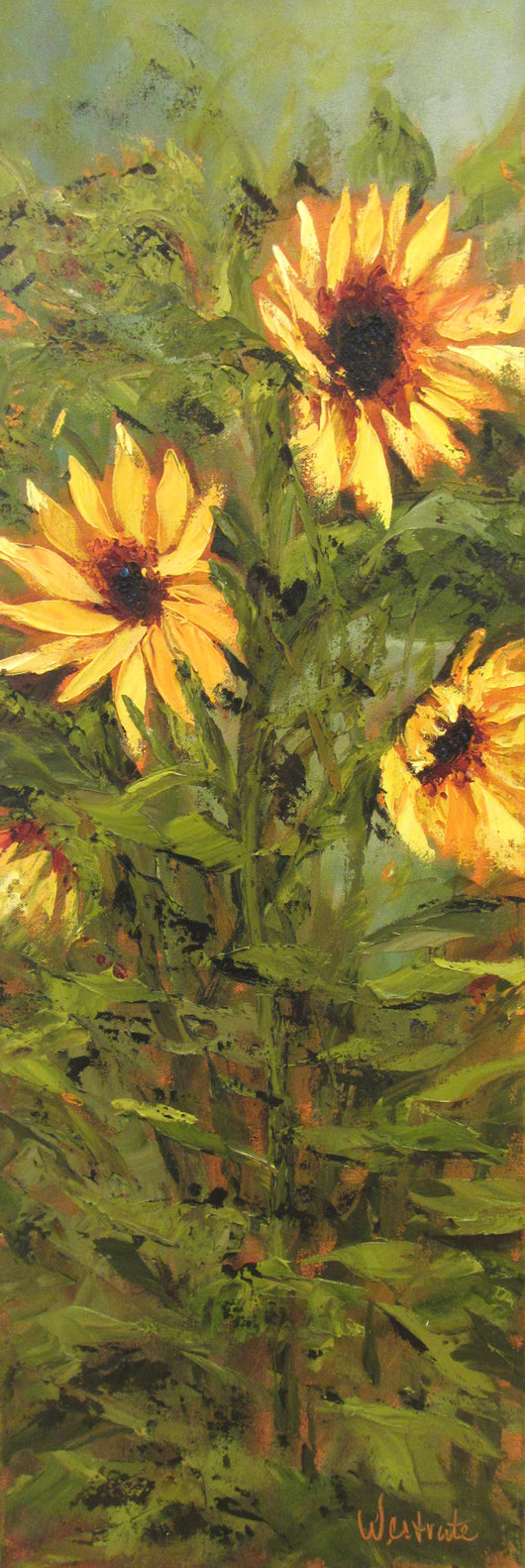 Tall Sunflowers Oil Painting