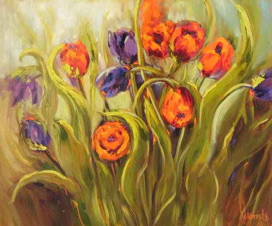 Tilted Tulips Oil Painting