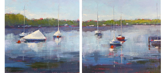 Harbor Reflections I and II Oil Painting