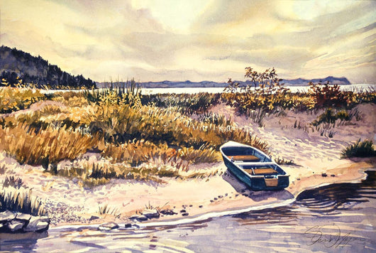 The Lone Green Boat Giclee